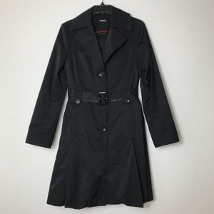 DKNY Black Trench Coat with Belt Size Small